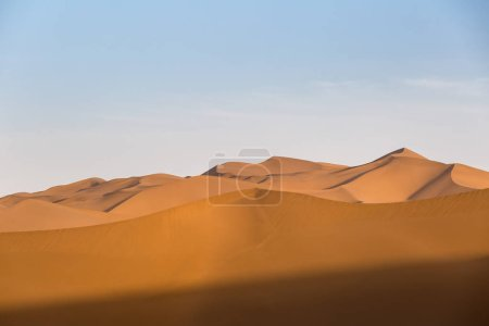beautiful desert and sand dunes at dusk, xinjiang, China