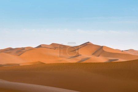 desert dusk landscape, setting sun shone over the dunes, clipping path included