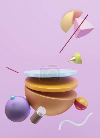 Minimalistic scene of geometric shapes