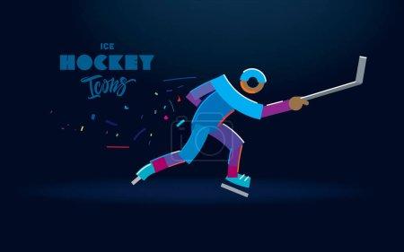 冰球运动员用一根棍子