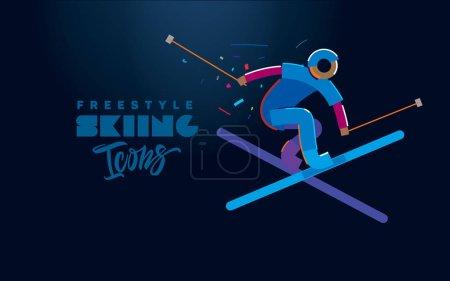 自由式滑雪。矢量图标