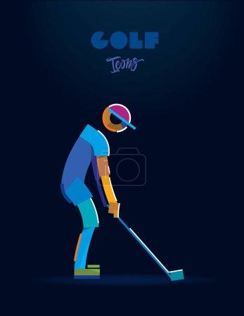 高尔夫球手。矢量象形文字