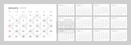 日历 2020 年新年在干净的最小表简单风格.
