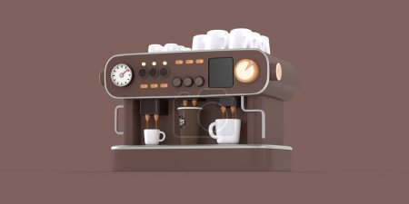 Coffee shop 3D render - coffee machine -modern concept digital illustration of a coffee maker with cups on the top, producing espresso filling in three cups. Creative landing web page header