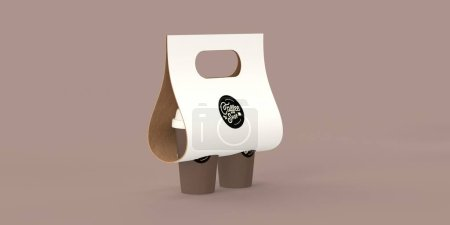 Coffee shop 3D render - coffee take away pack -modern concept digital illustration of a cardboard coffee cup holder with brown paper cups covered with lid in it. Creative landing web page header