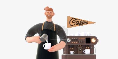 咖啡商业主体3D人物插画