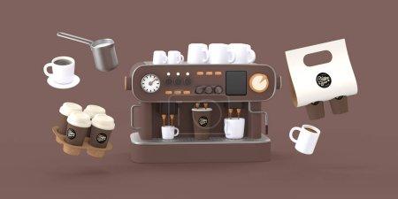 Coffee shop 3D illustartion