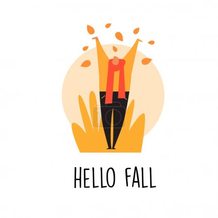 Vector cartoon illustration of man with autumn leaves