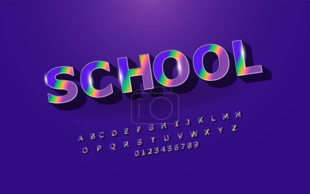 Fun English alphabet for school, colorful letters and numbers set. Font style, elements of a vector design template for your app or company.