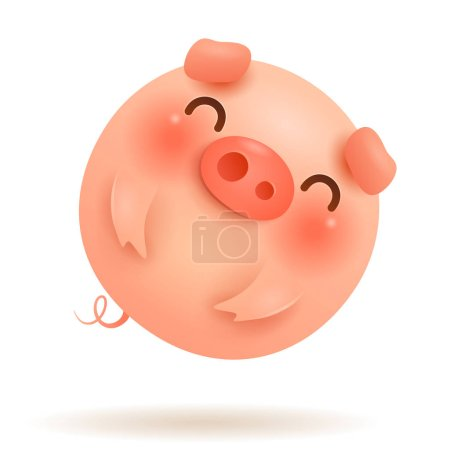 Little Pig Flying Balloon. Chinese New Year. The year of the pig. Chinese zodiac: Pig - the symbol of the year 2019 on the Chinese calendar.