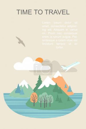 Vector banner with seascape illustration and text layout