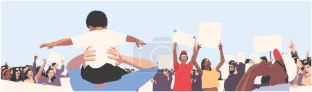 和平人群抗议儿童和学生持有空白标志和横幅的例证