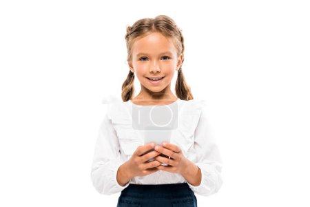 开朗的孩子使用智能手机隔离在白色