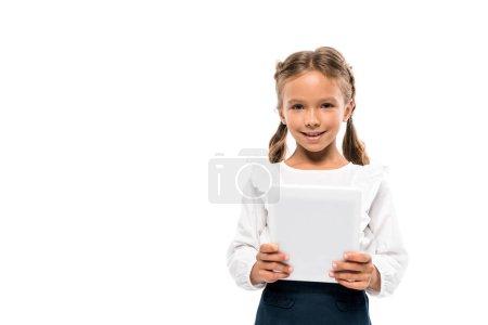 快乐的孩子使用数字平板电脑隔离在白色