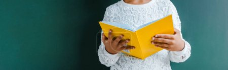 全景拍摄的孩子拿着黄色书的绿色