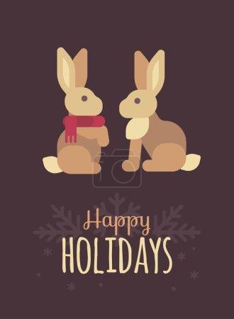 可爱的兔子圣诞贺卡。节日快乐