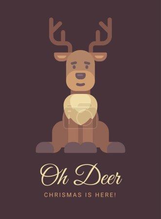 可爱的驯鹿圣诞贺卡。哦, 鹿, 圣诞节到了