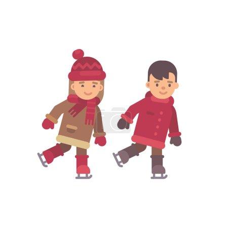 两个孩子在滑冰冬天平的例证