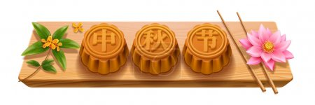 Mooncakes with calligraphy, mid autumn festival