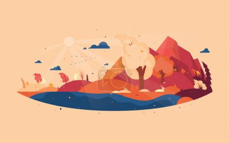 Panoramic of wild landscape in autumn. Background with autumn landscape mountains, house and trees with flying yellow foliage. Windy weather. Vector illustration