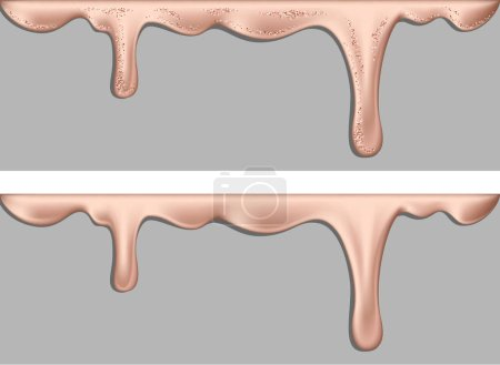 Set of borders with shiny dripping pink gold liquid