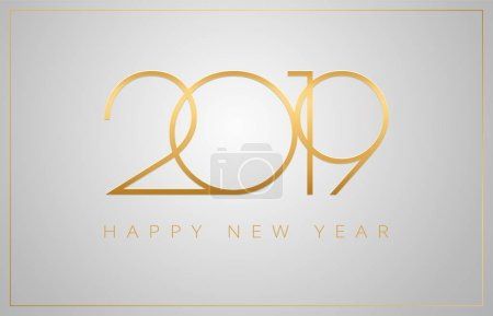 2019 Happy New Year greeting card - golden numbers on a silver background - vector 2019 New Year celebration background