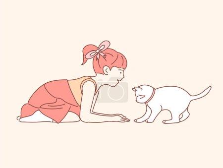 在颜色背景上玩猫的小女孩