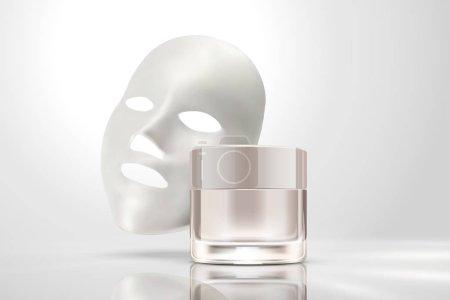 3d 插图珍珠白色背景的奶油罐子面膜
