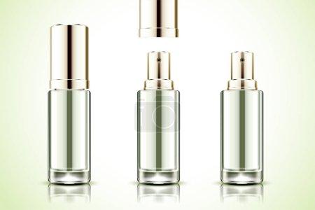 绿色背景下3d 插图的空白喷雾瓶样机