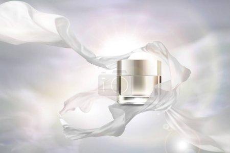 空白珍珠白色奶油罐子与飞行雪纺在3d 例证