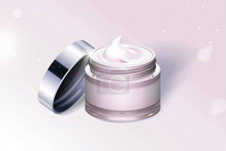 浅粉红奶油罐容器查出在闪闪发光的背景在3d 插图