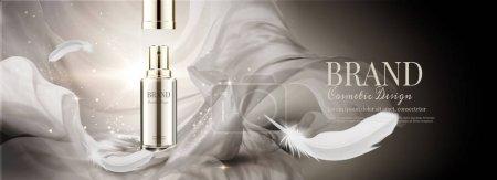 化妆品横幅广告与飞行雪纺和羽毛, 3d 插图博基闪闪发光的背景