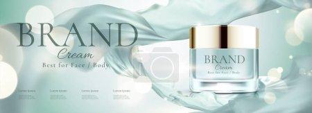 化妆品横幅广告与面霜罐和飞行雪纺, 3d 插图博基闪闪发光的背景