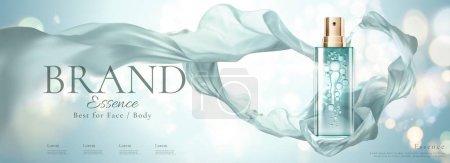 化妆品横幅广告与喷雾瓶和飞行雪纺, 3d 插图博基闪闪发光的背景