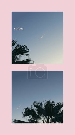 Exotic tropical palm trees and sky with comet template design