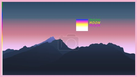 Retrowave mountain scene soft pastel neon gradient background template aesthetic feeling
