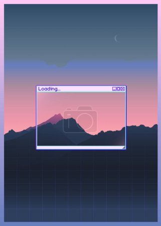 Retrowave mountain scene soft pastel neon gradient background with windows OS style frame background, aesthetic feeling