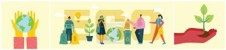 拯救地球概念的生态背景,在平坦的风格中思考绿色。矢量插图