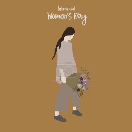 国际妇女日。带着一束鲜花的女孩。手绘时尚女性。穿着时髦衣服的年轻妇女或女孩。向量例证