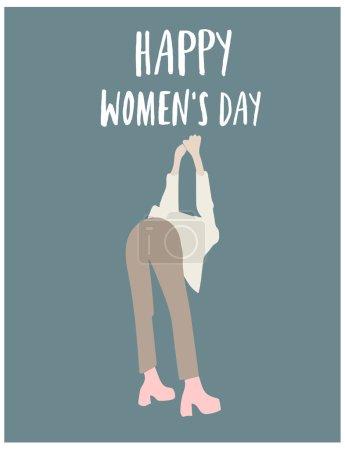 快乐的妇女天海报。做早操的妇女