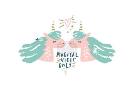 Vector unicorn illustration, card and t-shirt design. Nursery art