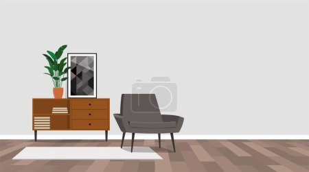 Living room interior with armchair, vector illustration