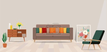 Living room interior with sofa, vector illustration