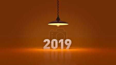2019 New Year sign inside light bulbs. 3D rendering