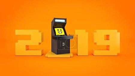 vintage arcade game machine concept 2019 New Year . 3D rendering