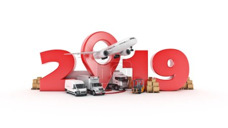 world wide cargo transport concept. 2019 New Year sign. 3d rendering.