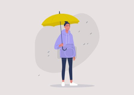 Weather forecast, rainy season, a young female character holding a yellow umbrella