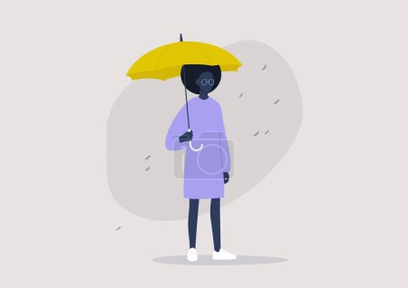 Weather forecast, rainy season, a young black female character holding a yellow umbrella