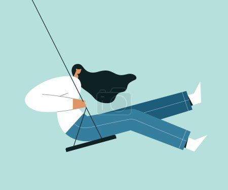 坐在秋千上的现代女人。卡通女性角色与风中吹头发,和摆动.