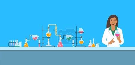 化学实验室的化学家。平面矢量背景。卡通水平横幅。印度妇女科学家在白色外套在药剂设备附近存放瓶与新的医学。医学研究